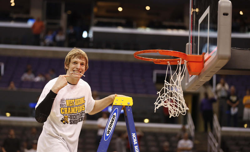 Ron Baker celebrates in Los Angeles, Calif., March 30.