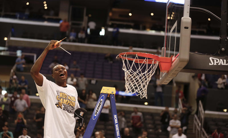 Cleanthony Early celebrates in Los Angeles, Calif., March 30.