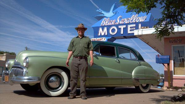 Jay and the Buick Super at the Blue Swallow Motel in Tucumcari, N.M.