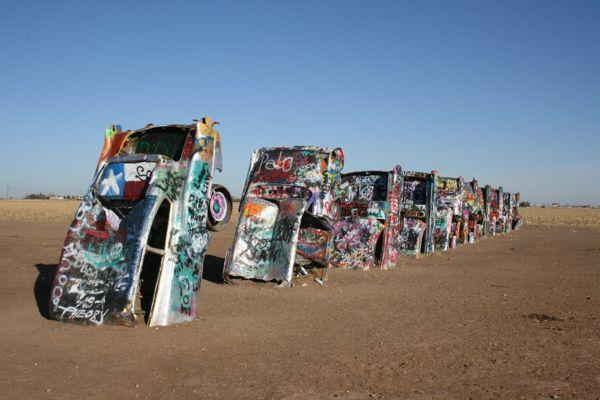 """Cadillac Ranch"" public sculpture outside Amarillo, Texas"