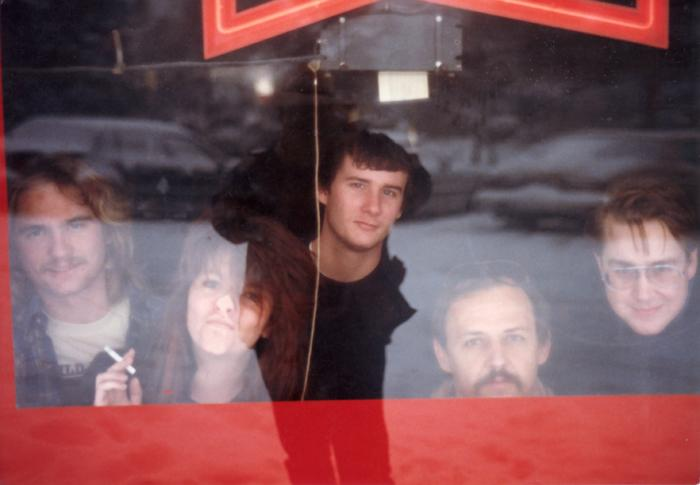 The Blivets in the window of Kirby's Beer Store in 1987.