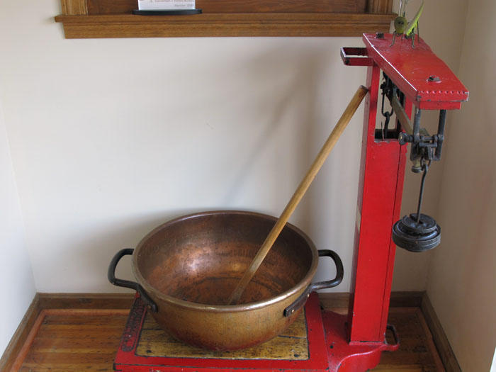 The copper pot that is still used to make Cero's handcrafted chocolates.