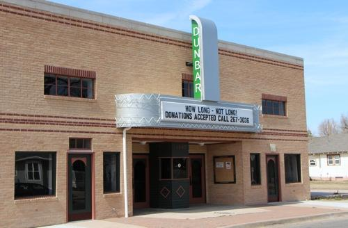 The Dunbar Theater's new marquee, which was dedicated last year, was funded through state and federal grants. File Photo: March 2013