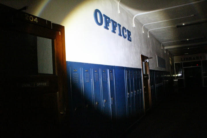 A view of the second-floor hallway at the old Wellington High School.