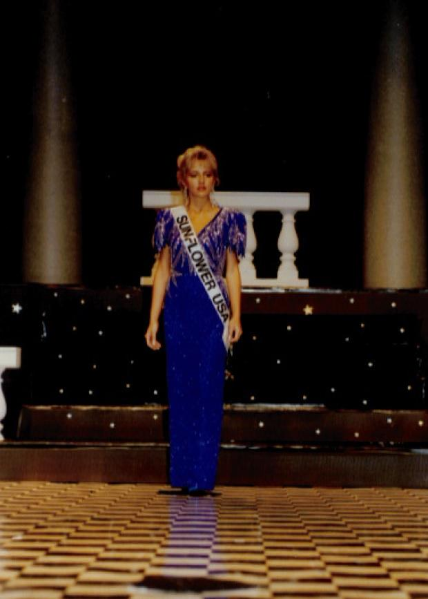 A snapshot of Angela competing in the Miss Kansas pageant in the 1990s.