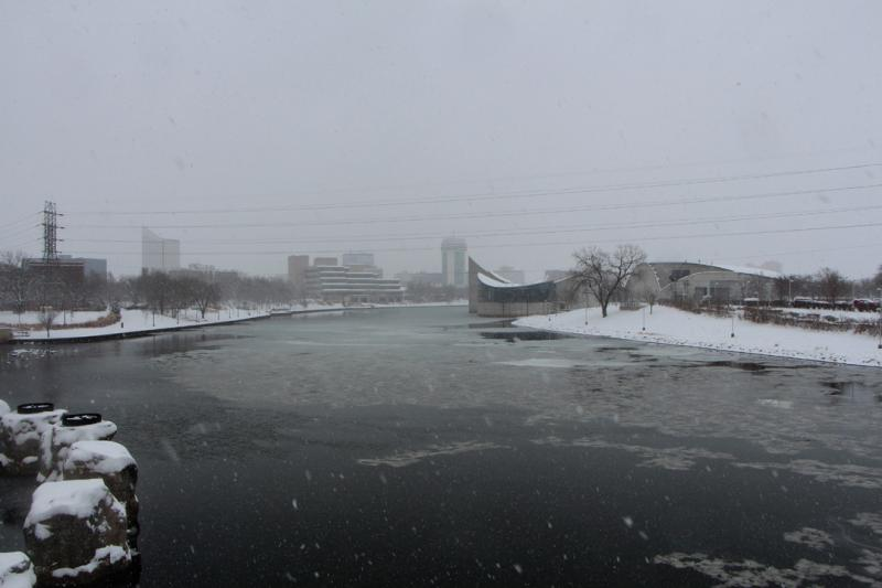 The Arkansas River looking frigid on Tuesday afternoon in downtown Wichita.