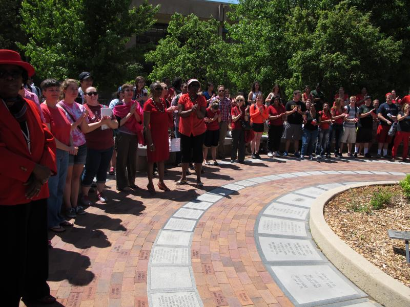 Rally in front of WSU Plaza of Heroines.