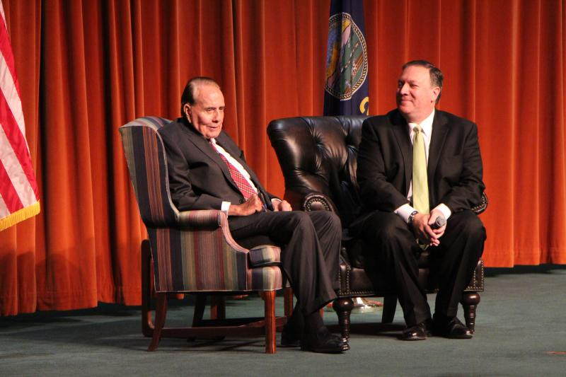 Former Senator Bob Dole speaks to a crowd of about 200 supporters at Wichita State University on Wednesday morning. Kansas Rep. Mike Pompeo, right, introduced him.
