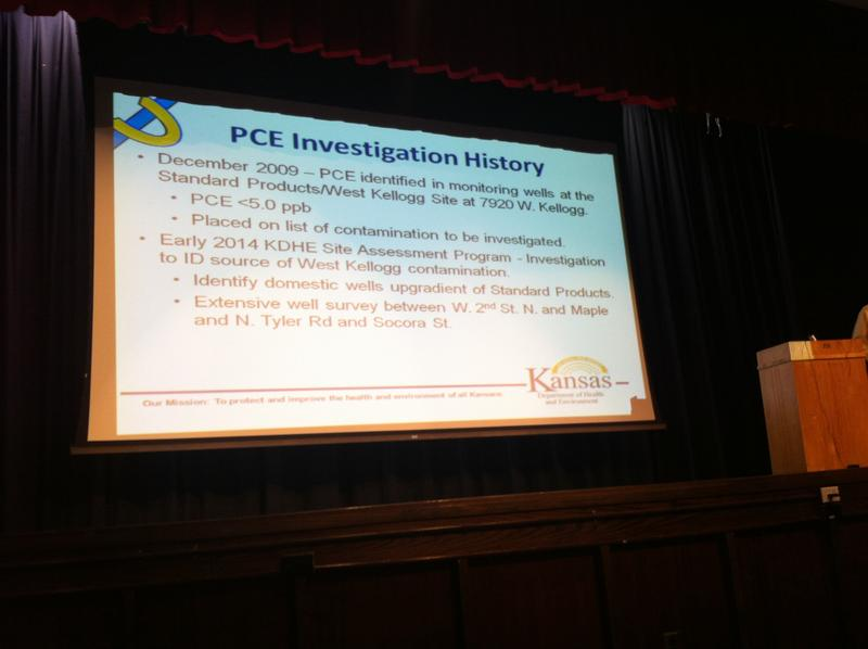 A slide from a neighborhood meeting concerning PCE contamination.