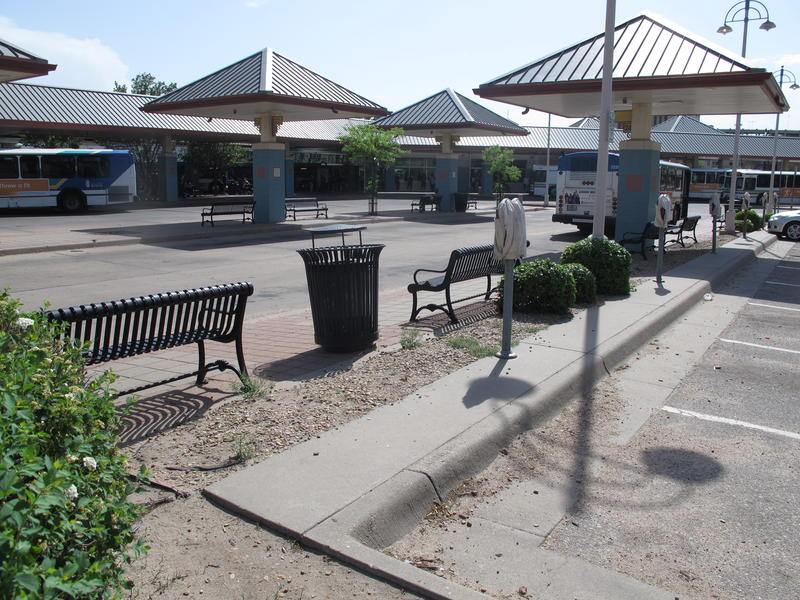 Another look at the central transit center. The many gazebos mark the waiting area for different buses.