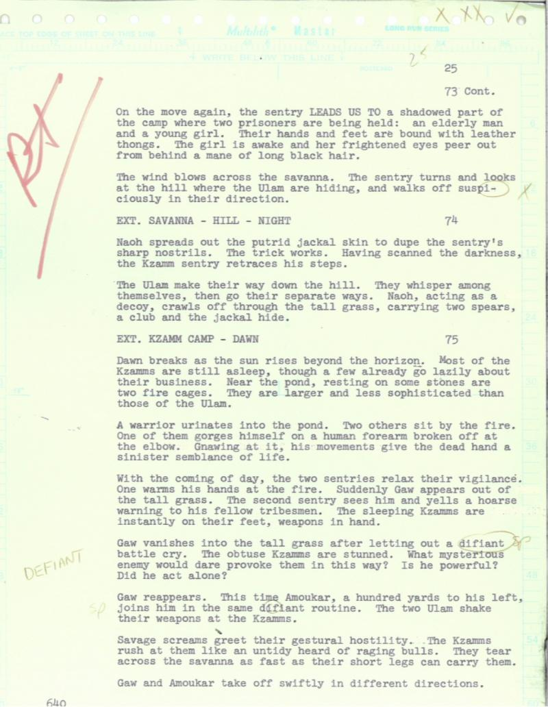 "A sample page for the Fox film, ""A Quest for Fire."" Wood was in the script typing pool."