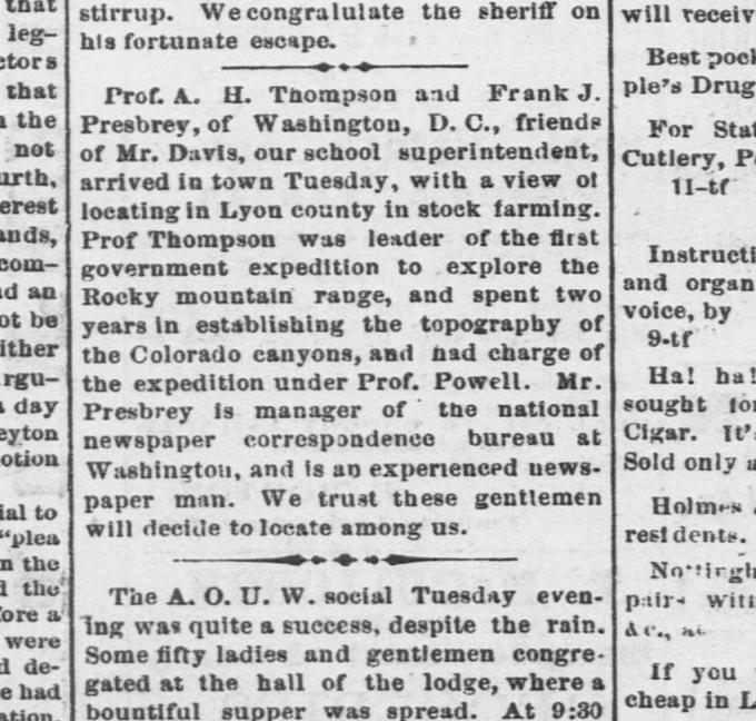 Emporia News article from March 29, 1878, referencing Thompson and Presbrey
