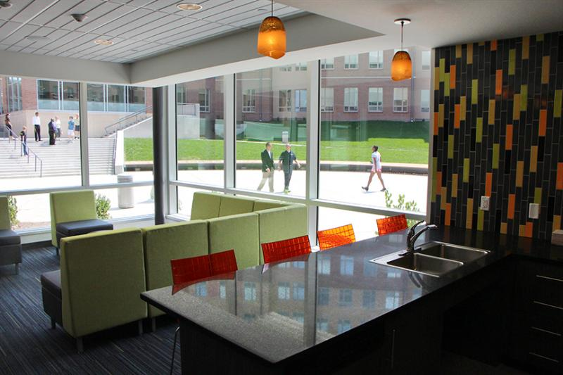 Each floor of Shocker Hall has a communal kitchen and laundry facility.