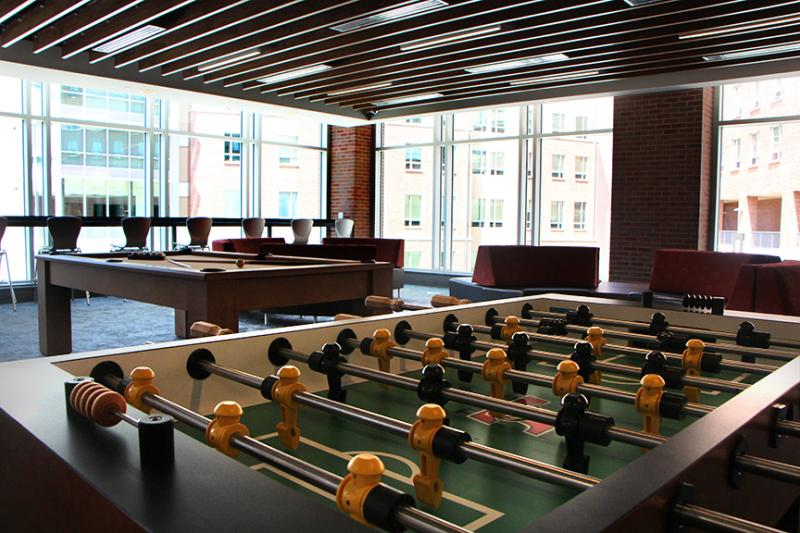 A recreation room on the ground floor of Shocker Hall.
