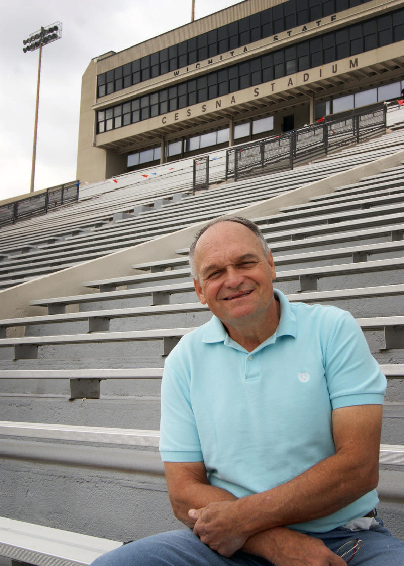 Rick Stephens sits in Cessna Stadium.