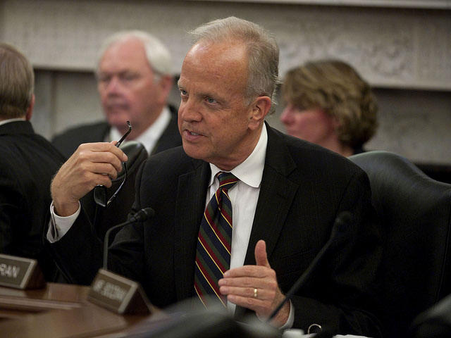 U.S. Sen. Jerry Moran speaks on the Senate floor at a hearing last May.