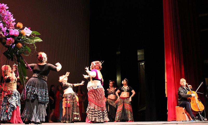 Tanya's dance troupe with musician Jakub Jerzy Omsky