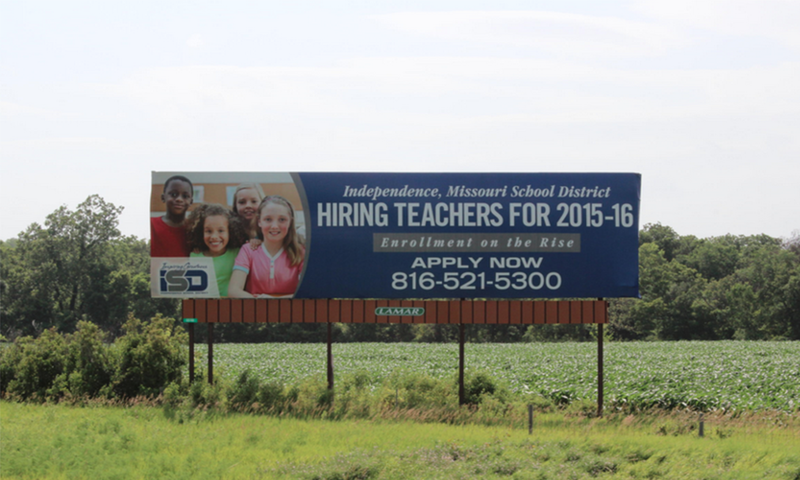 The Independence School District is actively recruiting Kansas teachers. This billboard is along the Kansas Turnpike near Lawrence.