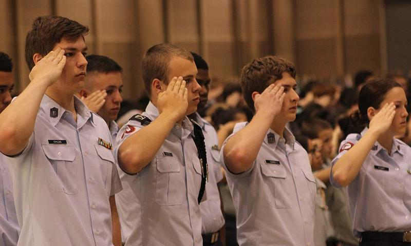 Cadets salute during Monday's ceremony.