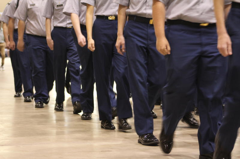 Cadets participate in a pass in review.