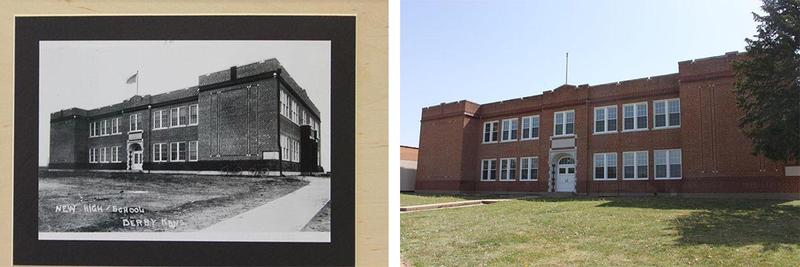 The historic Derby Public School circa 1924, left, and in 2014.