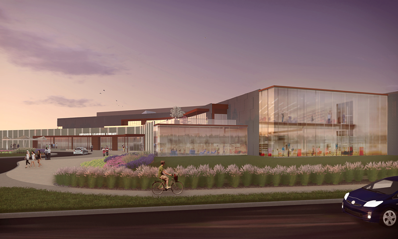 A rendering of the exterior of the future advanced learning library.