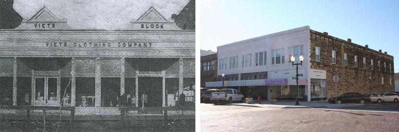 Viets Clothing Co. in Augusta circa 1920, left and in 2011.