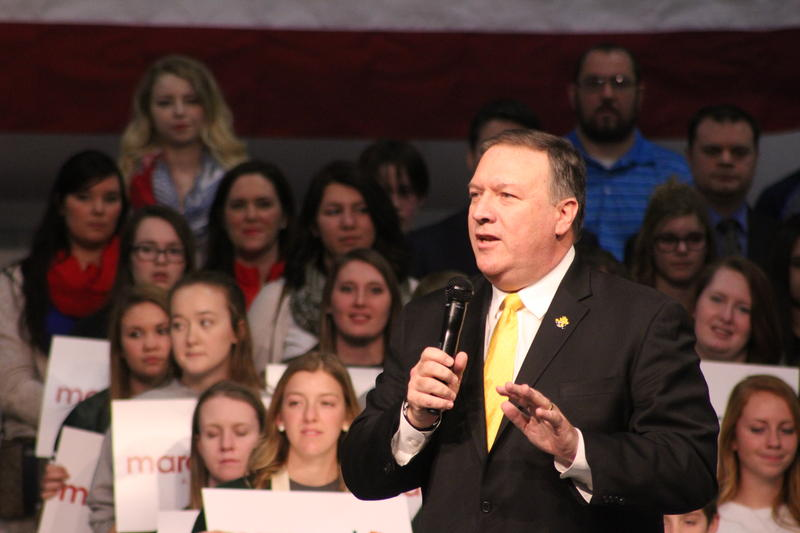 Mike Pompeo speaks at a caucus event in Wichita for Marco Rubio during the 2016 campaign.
