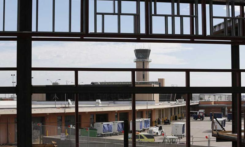 The control tower at the Wichita Dwight D. Eisenhower National Airport.