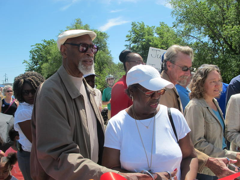 Galyn Vesey and Joan Smith Williams attend the dedication ceremony of the Redbud Trail, which highlights Wichita's history. Vesey is the project director of Research on Black Wichita.