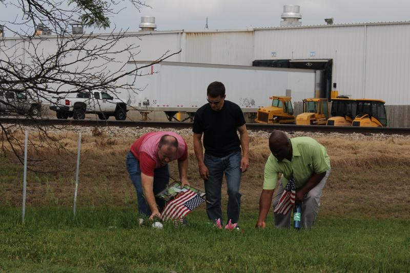 Pieces of the memorial are gathered to be taken to the Hesston Library where they will be held permanently.