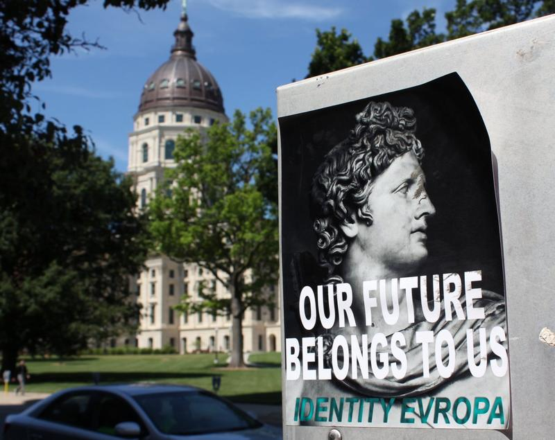 One of the posters promoting the group Identity Evropa in Topeka near the Statehouse.