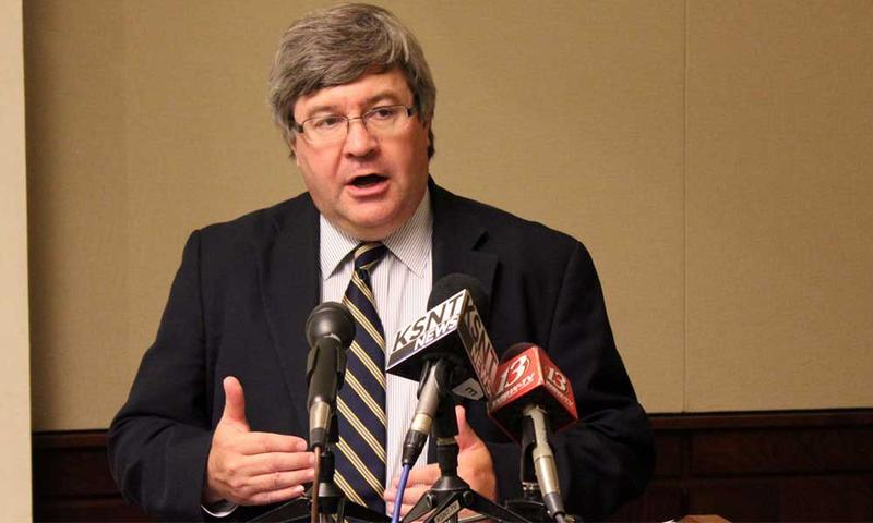 Mark Tallman, with the Kansas Association of School Boards, speaking to reporters.
