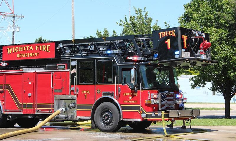 A truck outside of the Wichita Fire Department near downtown Wichita.