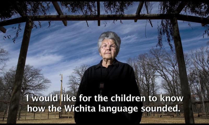 A screenshot from a video of Doris Jean Lamar-McLemore speaking the Wichita language.