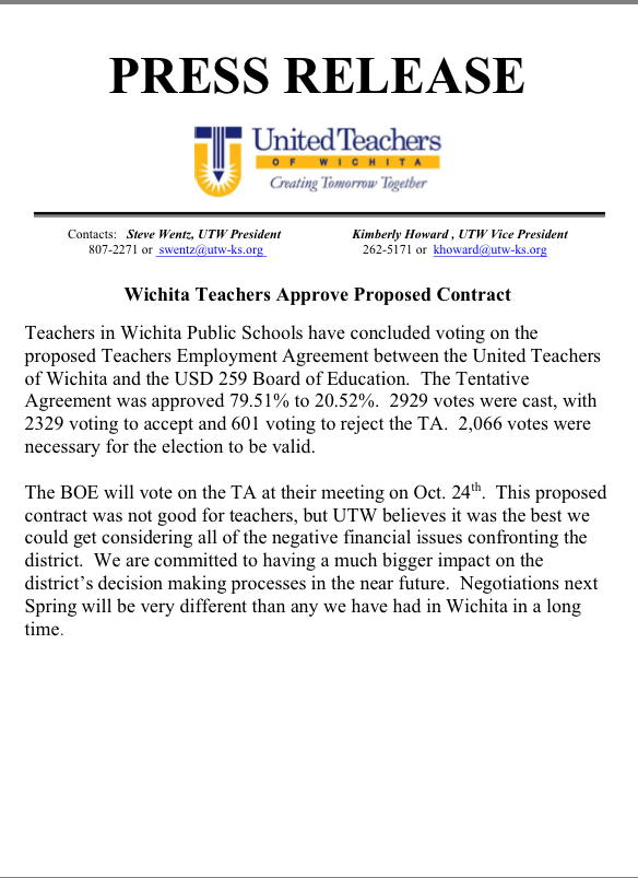 Wichita Teachers Union Votes To Approve Contract With Board Of – Teacher Agreement Contract