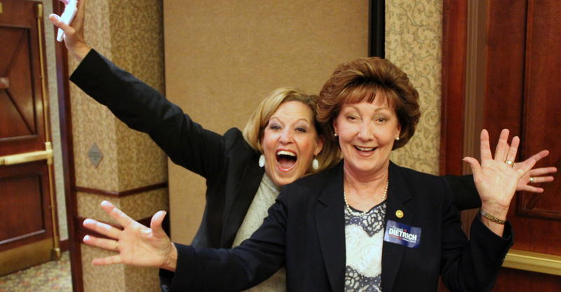 Republican Sen. Vicki Schmidt (left) and Republican Representative-elect Brenda Dietrich celebrate their victories at a party in Topeka.