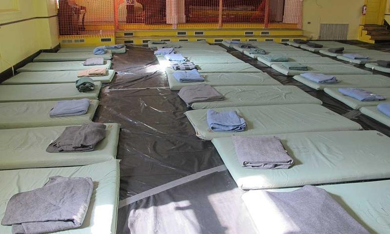 Sleeping mats cover the floor of the Inter-Faith Ministries shelter.