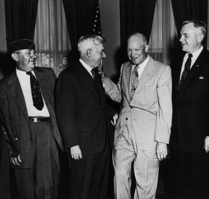 Emporia shoe salesman Alvin King, left, meets with Congressman Ed Rees and President Dwight D. Eisenhower.