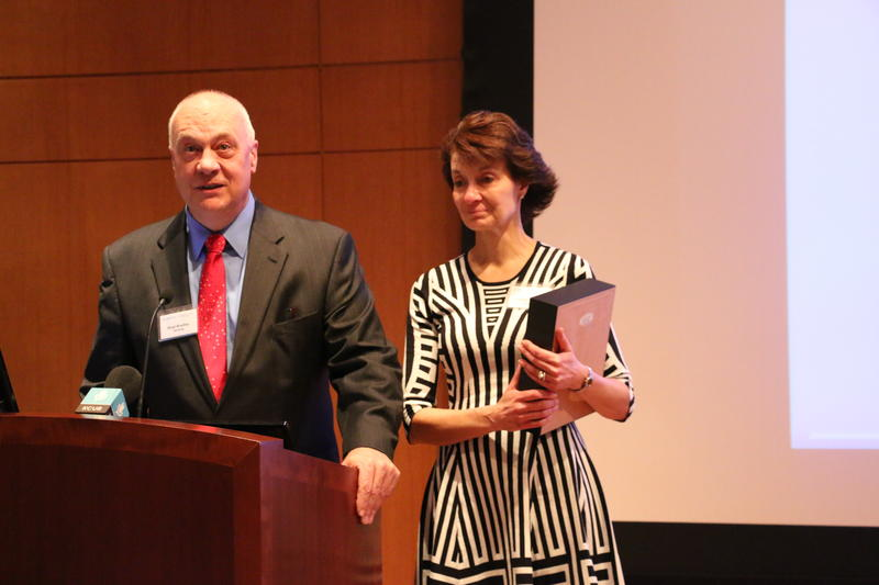 William F. Bradley, Jr., left, acknowledges thanks from Children's Mercy Hospital and the University of Kansas Cancer Center for the gift that he and his wife, Robbie Harding, pledged toward genomic research.