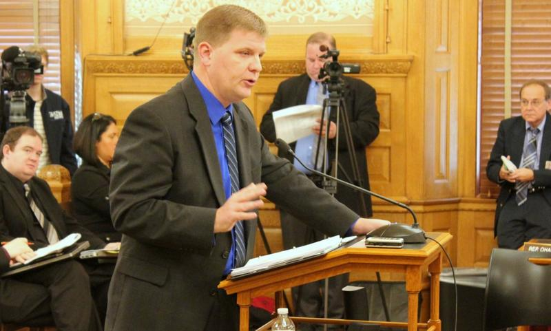 Budget Director Shawn Sullivan outlines the governor's budget plan in a committee meeting Wednesday.