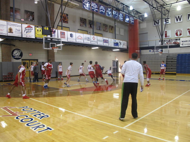 Potter watches during practice last year at Newman University. The court bears his name.