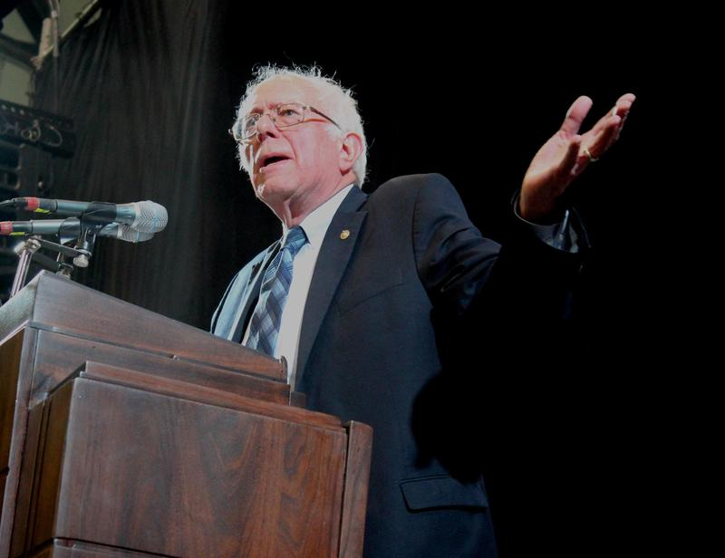 Sanders speaks at Topeka High School on Saturday.