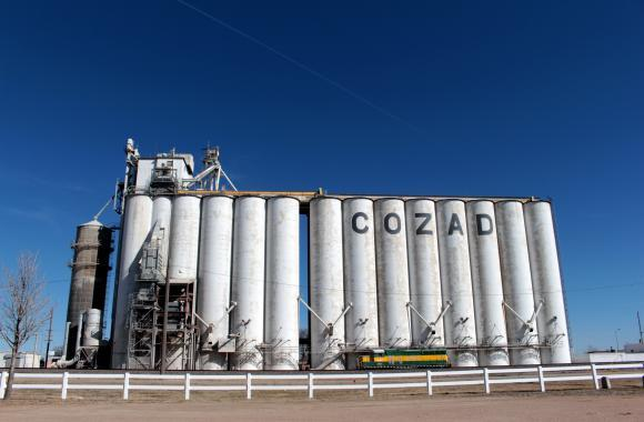 A grain elevator in Cozad, Nebraska, spells out the name of the town and represents the largest industry in the area: agriculture.