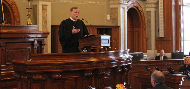 Chief Justice Lawton Nuss speaking to lawmakers Wednesday during his State of the Judiciary address.