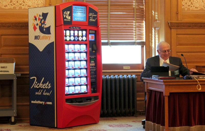 An example of a lottery ticket vending machine brought into the Kansas Statehouse.