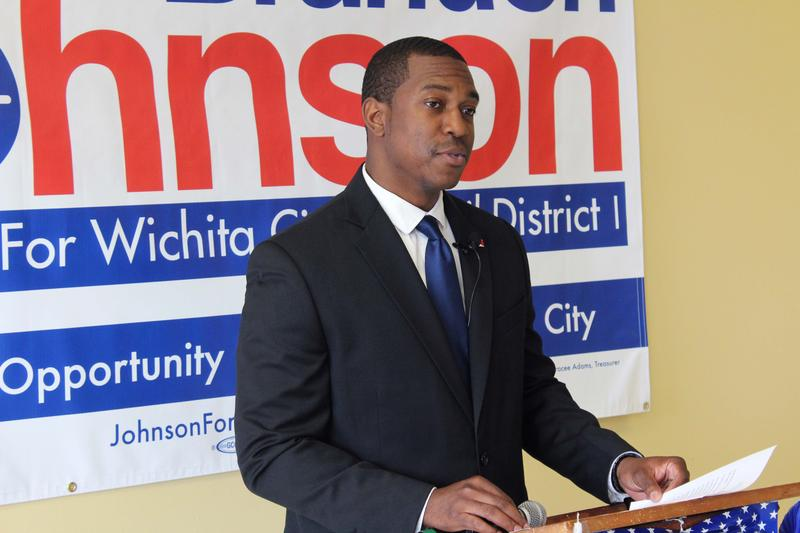 Brandon Johnson makes his Wichita City Council campaign announcement Monday.