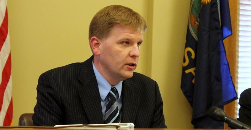 Budget Director Shawn Sullivan speaks to reporters Thursday.