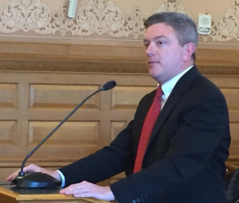 Jeff King, former Kansas Senate vice president, speak Thursday to a House committee developing a school finance proposal. The Legislature hired King for $50,000 to help write a bill and present its constitutionality to the state Supreme Court.