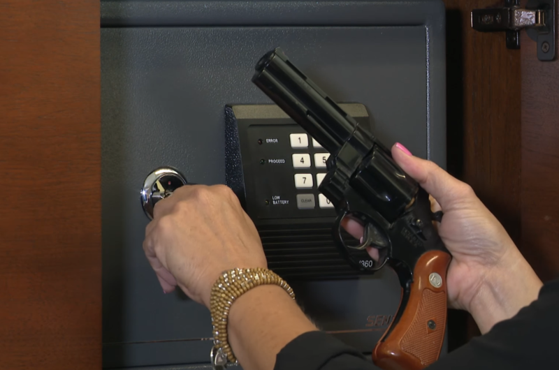 A still from Johnson County Community College's video showing that keeping a handgun in an office on campus is inappropriate despite the concealed carry law.